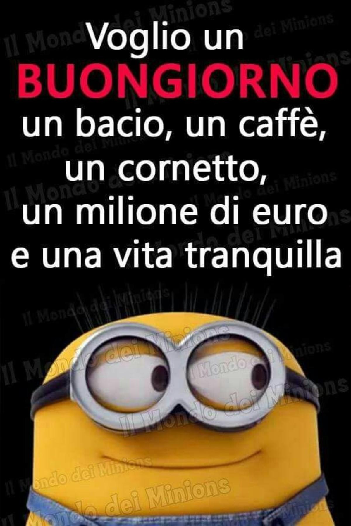 Voglio un Buongiorno, un bacio, un caffè, un cornetto, un milione di euro, una vita tranquilla! (Minions)