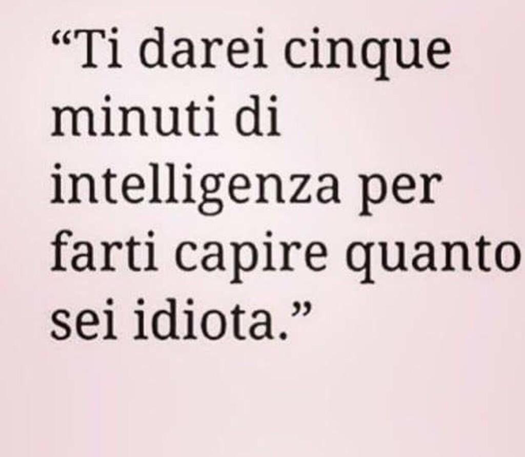 """""""Ti darei cinque minuti di intelligenza per farti capire quanto sei idiota."""""""