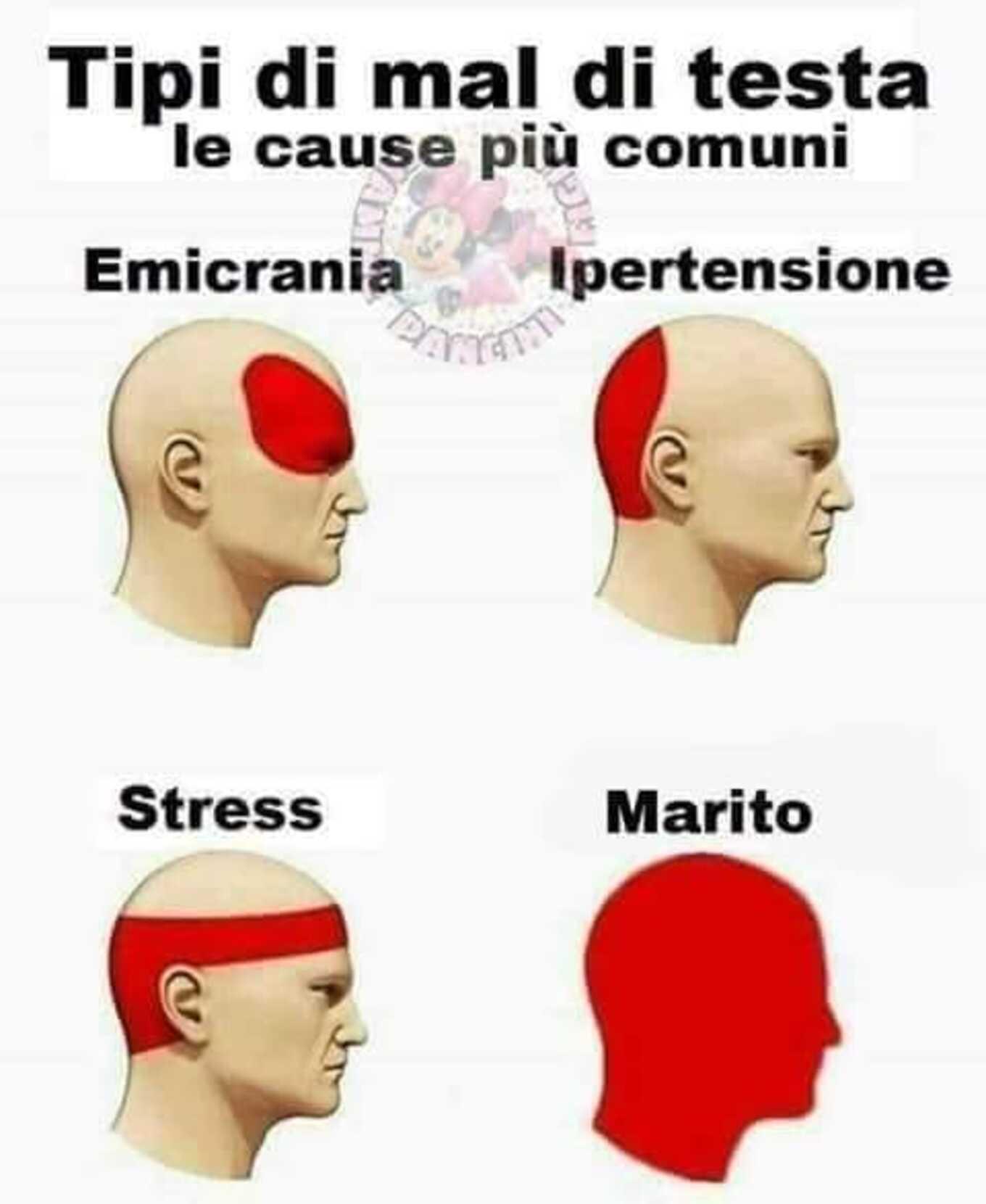Tipo di mal di testa le cause comuni: Emicrania, Ipertensione, Stress, MARITO