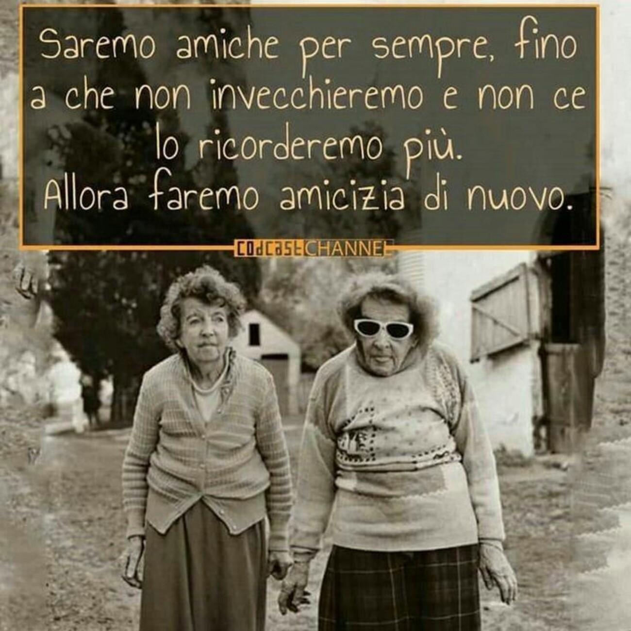 Saremo amiche per sempre, fino a che non invecchieremo e non ce ne ricorderemo più. Allora faremo amicizia di nuovo.