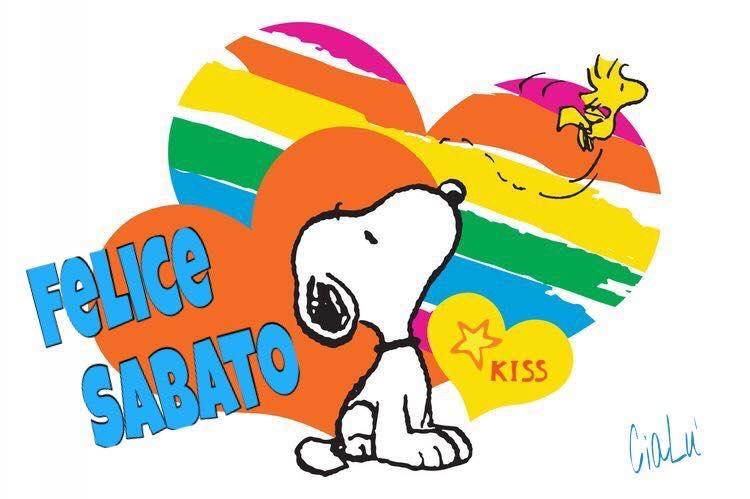 Buon Sabato arcobaleno da Snoopy