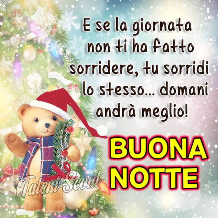 """""""E se la giornata non ti ha fatto sorridere, tu sorridi lo stesso... domani andrà meglio! BUONA NOTTE"""" - immagini a tema natalizio"""