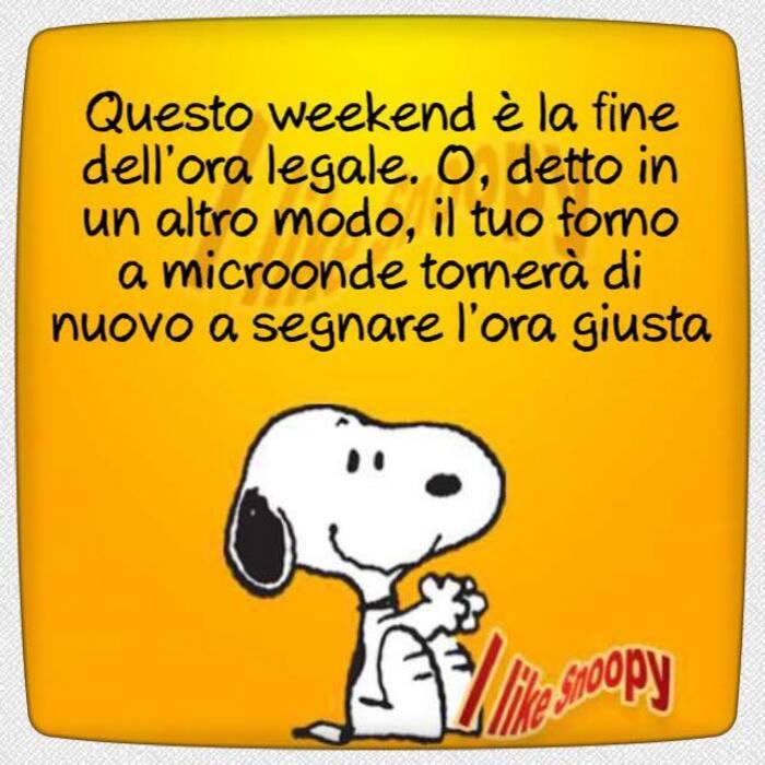 """""""Questo weekend è la fine dell'ora legale. O, detto in un altro modo, il tuo forno a microonde tornerà di nuovo a segnare l'ora giusta."""" - battute divertenti Snoopy"""